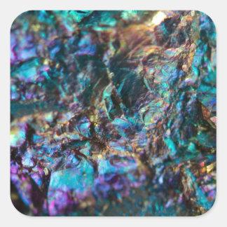 Turquoise Oil Slick Quartz Square Sticker