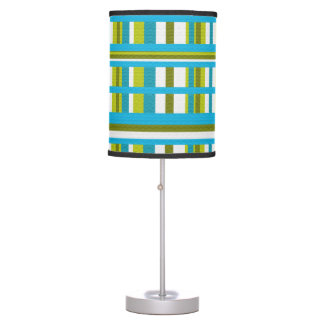 Turquoise, Olive & Lime Green Plaid Table Lamp