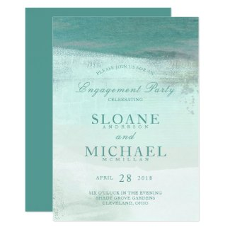 Turquoise Ombre Watercolor Beach Engagement Party Invitation