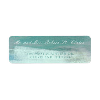 Turquoise Ombre Watercolor Wash Address Label