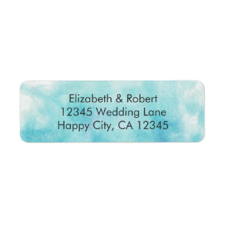 Turquoise Ombre Watercolor Wedding Return Address Label