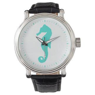 Turquoise On White Seahorse Wristwatches