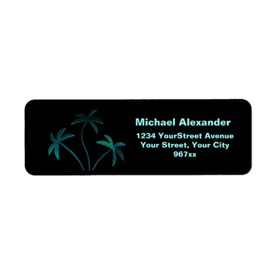 Turquoise Opal Palm Trees on Black Return Address Label