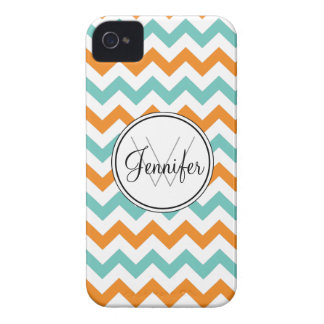 Turquoise & Orange Chevron Monogram iPhone 4/4s iPhone 4 Covers
