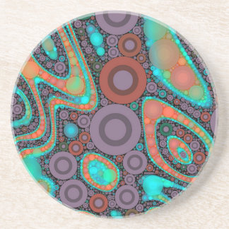 Turquoise Orange Circle Abstract Coaster