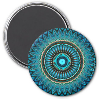 Turquoise Orange Green Mandala Round Star Pattern 3 Inch Round Magnet