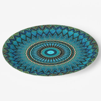 Turquoise Orange Green Mandala Round Star Pattern 9 Inch Paper Plate