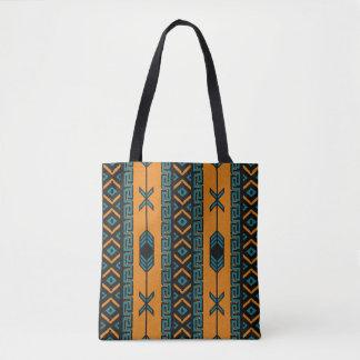 Turquoise Orange Southwest Tribal Aztec Pattern Tote Bag