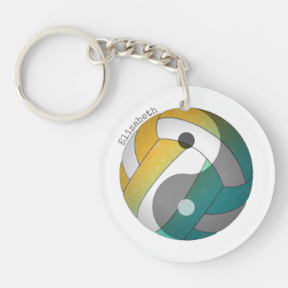 turquoise orange yin and yang volleyball w name keychain