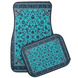 Turquoise Oriental Rug Look Car Mat Set