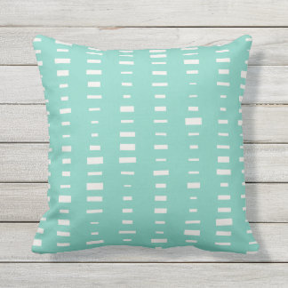 Turquoise Outdoor Pillows - Block Stripe