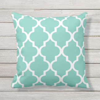 Turquoise Outdoor Pillows Quatrefoil Lattice