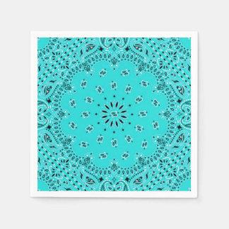 Turquoise Paisley Bandana Scarf BBQ Picnic Napkin Paper Napkins