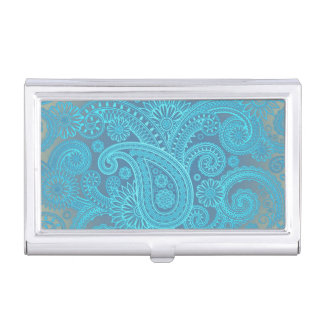 Turquoise Paisley Business Card Holder