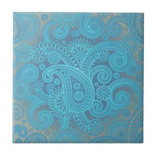 Turquoise Paisley Ceramic Tile