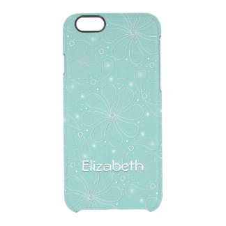 Turquoise Paisley Floral Hearts Pattern Clear iPhone 6/6S Case