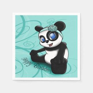"""Turquoise Panda Floral"" Birthday Paper Napkins"