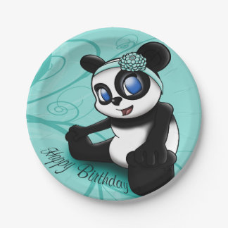 Turquoise Panda Floral Birthday Paper Plates