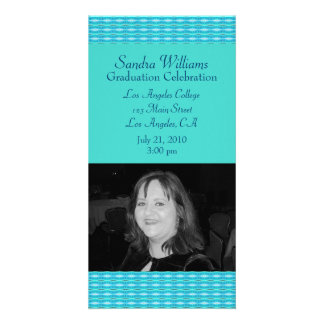 Turquoise Pattern Graduation Picture Card