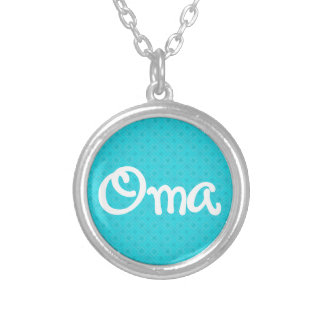 Turquoise Pattern Oma Silver Plated Necklace