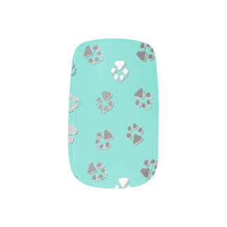 Turquoise Pawprint Minx Nail Art
