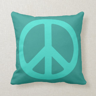 Turquoise Peace Symbol Throw Pillow