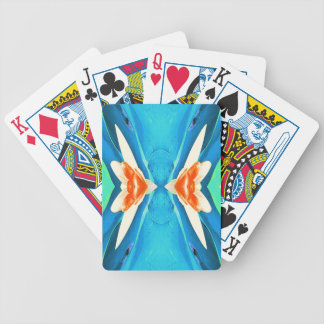 Turquoise Peach Abstract Butterfly Shape Bicycle Playing Cards