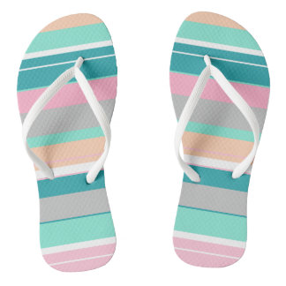 Turquoise Peach Funky Flip Flops
