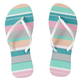 Turquoise Peach Funky Flip Flops