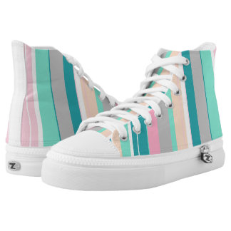 Turquoise Peach Funky High Top Shoes
