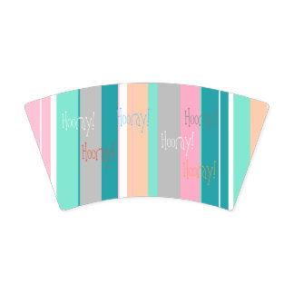 Turquoise Peach Stripes Hooray Paper Cup