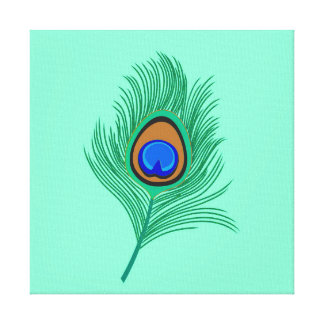 Turquoise Peacock Feather on Light Aqua Canvas Print