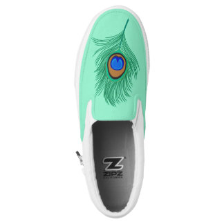 Turquoise Peacock Feather on Light Aqua Slip-On Sneakers