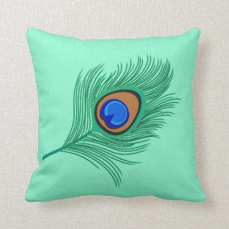 Turquoise Peacock Feather on Light Aqua Throw Pillow