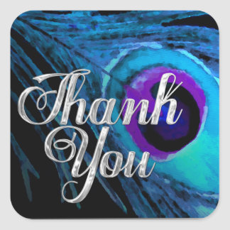 Turquoise Peacock Feather Silver Thank You Square Sticker