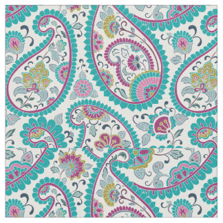 Turquoise Persian Boteh Paisley Pattern Fabric