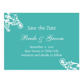 Turquoise Personalized Flourish Save the Date Postcard