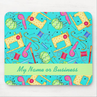 Turquoise Personalized Sewing Art Mousepad