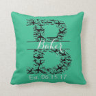 "Turquoise Pillow, Airplane Split Monogram ""B"" Throw Pillow"