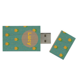 Turquoise pineapples all over usb flash drive
