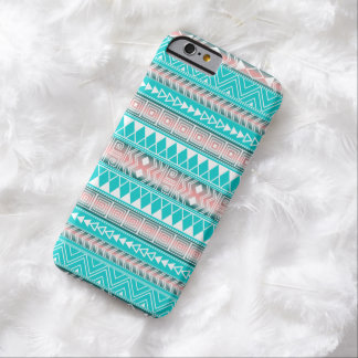 Turquoise, Pink and White Aztec Geometric pattern Barely There iPhone 6 Case