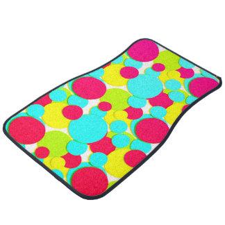 Turquoise, pink dots car mat