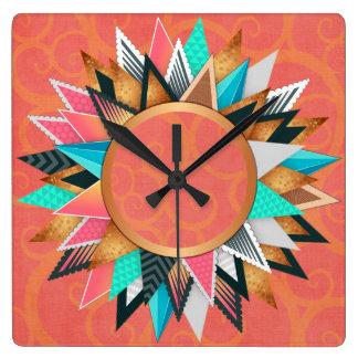 Turquoise Pink Orange Modern Geometric Pattern Wallclocks