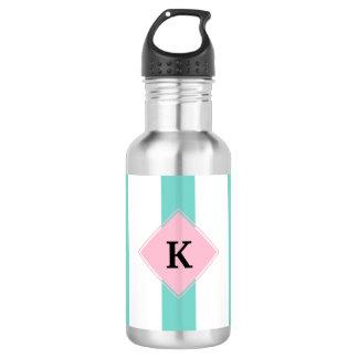 Turquoise Pink Stripes Monogram 532 Ml Water Bottle