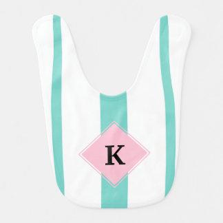 Turquoise Pink Stripes Monogram Bib