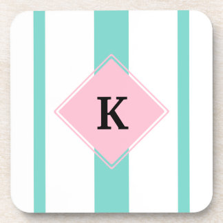 Turquoise Pink Stripes Monogram Coaster