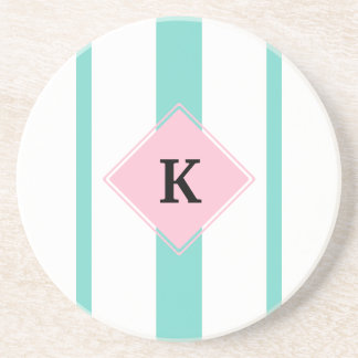 Turquoise Pink Stripes Monogram Coasters