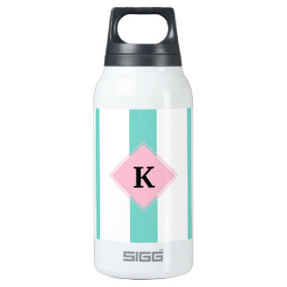 Turquoise Pink Stripes Monogram Insulated Water Bottle