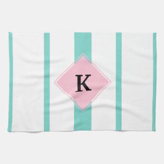 Turquoise Pink Stripes Monogram Kitchen Towel