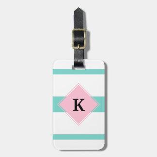 Turquoise Pink Stripes Monogram Luggage Tag